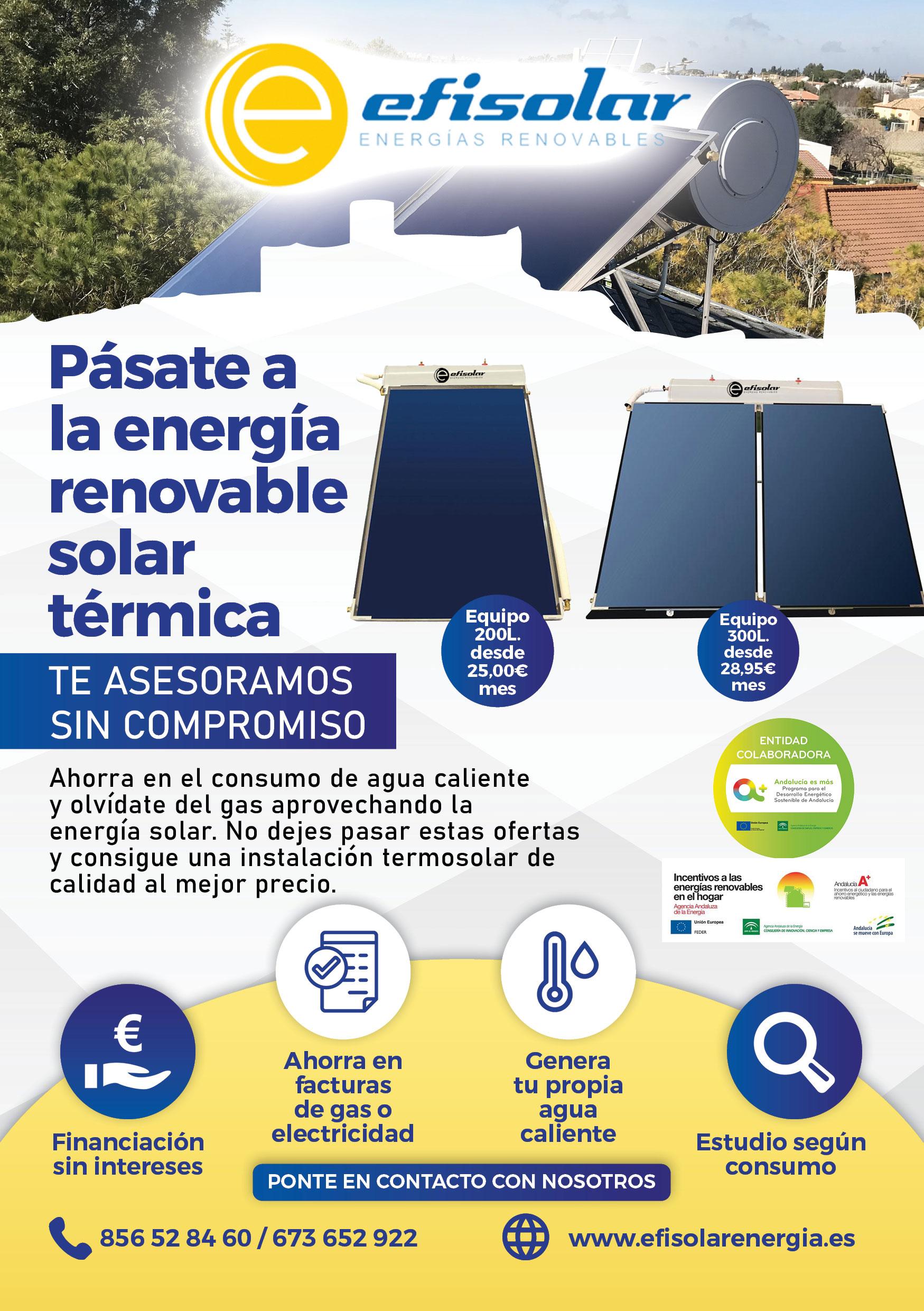 Instalaciones termosolares fotovoltaicas - Energía Solar Térmica - Efisolar Energías Renovables - Cádiz - Arcos de la frontera